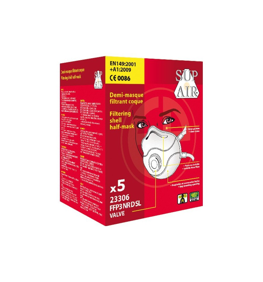 pack de 5 masques de protection respiratoire ffp3